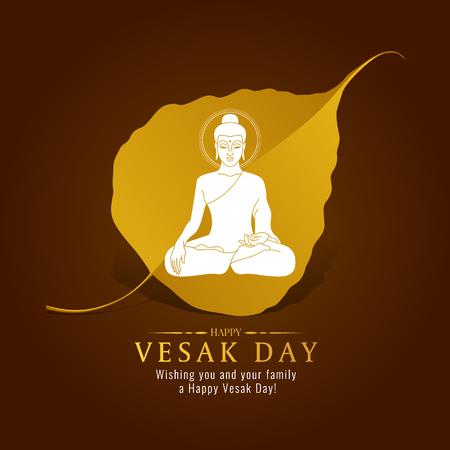 Ilustración de Vesak day banner card with White Buddha sign on gold Bodhi leaf  vector design - Imagen libre de derechos