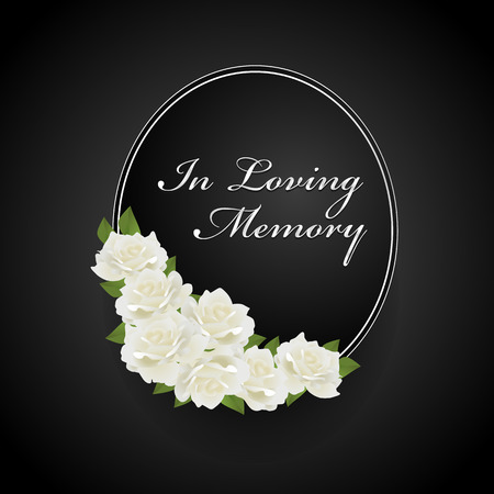 wreath with white rose on Oval frame and  in loving memory text vector design