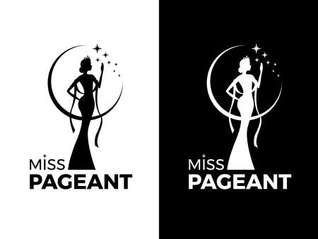 Illustration for Miss lady pageant logo sign with queen wears evening gown and crown and star vector design - Royalty Free Image