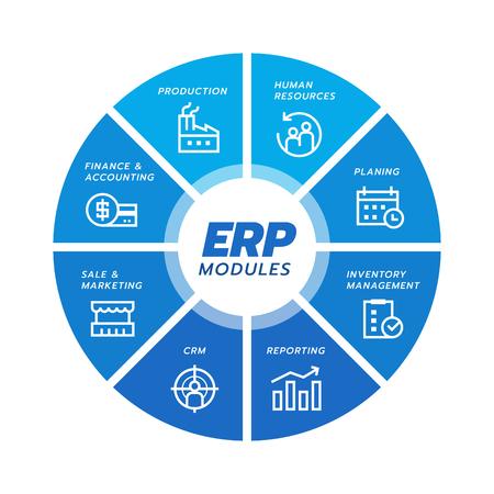 Illustration pour Enterprise resource planning (ERP) module icon Construction on blue circle flow chart  art vector design - image libre de droit