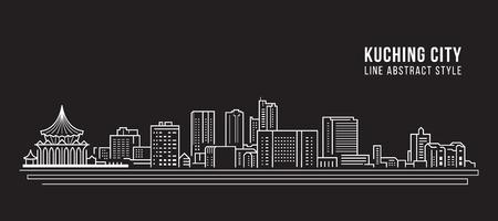 Illustration pour Cityscape Building Line art Vector Illustration design - kuching city - image libre de droit