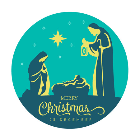 Illustration for Merry Christmas banner sign with Nightly christmas scenery mary and joseph in a manger with baby Jesus and star light in navy blue circle background vector design - Royalty Free Image