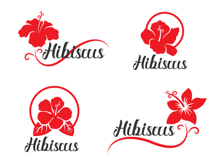 Illustration for Red Hibiscus flower sign collection vector design - Royalty Free Image