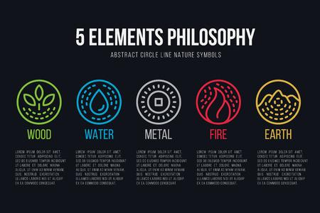 Ilustración de five element philosophy circle line boder  and Dashed line icon set vector design - Imagen libre de derechos
