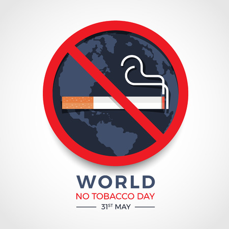 World no tobacco day banner with  red circle stop tobacco sign on earth texture