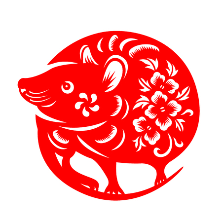 Illustration for Red paper cut rat chinese zodiac circle style  sign isolate on white - Royalty Free Image