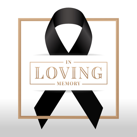 In loving memory text and black ribbon sign in square frame