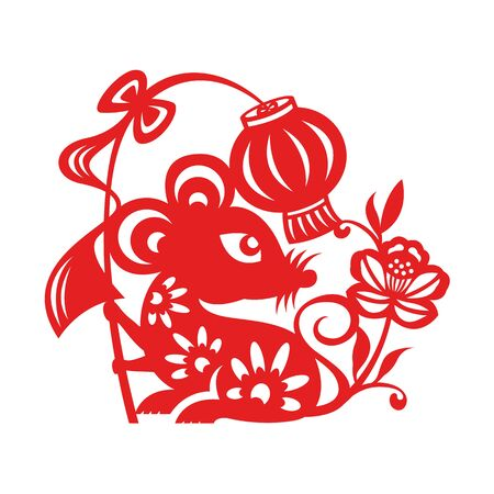 Illustration for Red paper cut rat zodiac hold lantern sign and flower isolate on white background vector design - Royalty Free Image