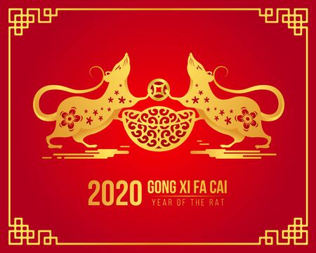 Illustration pour Chinese new year Gong xi fa cai 2020 with gold twin rat Chinese zodiac hold china money and coin on red - image libre de droit