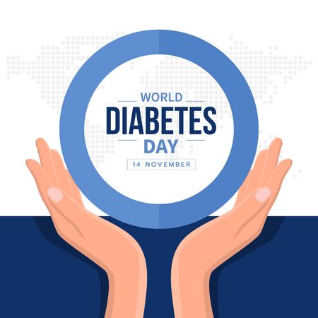 Illustration pour World diabetes day banner with hand hold care text in blue circle ring sign and abstract dot map earth world texture - image libre de droit