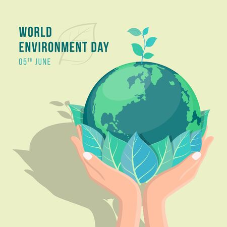 Illustration pour world environment day banner with hand hold leaf and seed plant on circle earth world vector design - image libre de droit