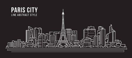 Illustration pour Cityscape Building panorama Line art Vector Illustration design -paris city - image libre de droit