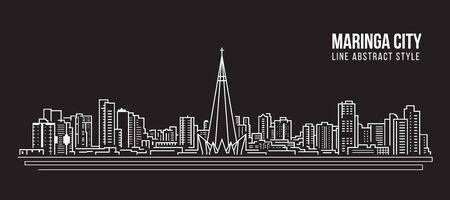 Illustration pour Cityscape Building panorama Line art Vector Illustration design - Maringa city - image libre de droit