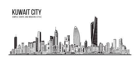 Illustration pour Cityscape Building Abstract Simple shape and modern style art Vector design - Kuwait city - image libre de droit