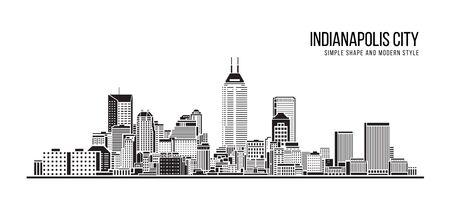 Illustration pour Cityscape Building Abstract Simple shape and modern style art Vector design - indianapolis city - image libre de droit