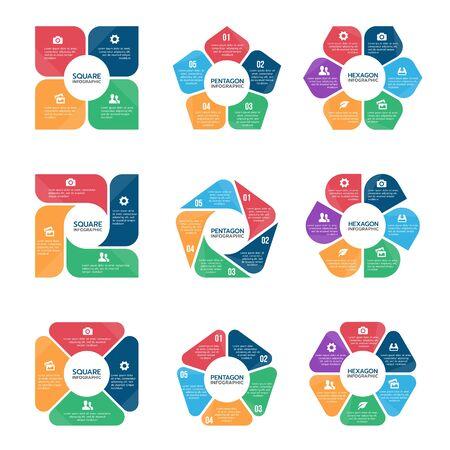 Illustration pour Square pentagon and hexagon infographic chart  (part four, part Five and part six) vector set design - image libre de droit