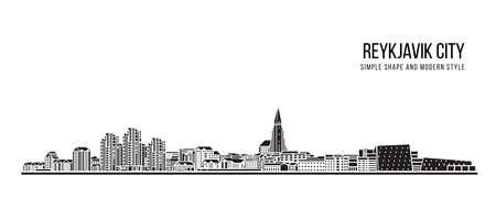 Illustration pour Cityscape Building Abstract shape and modern style art Vector design -  Reykjavik city - image libre de droit