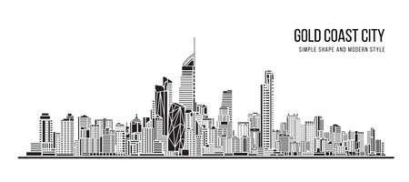 Illustration pour Cityscape Building Abstract shape and modern style art Vector design -   Gold Coast city - image libre de droit