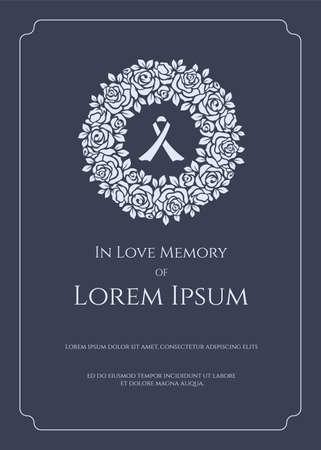 Foto für Funeral card banner - white ribbon sign in circle white rose wreath and text - Lizenzfreies Bild