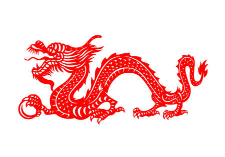 Illustration pour Red Chinese Zodiac Animals Papercutting - china dragon holding orb - image libre de droit