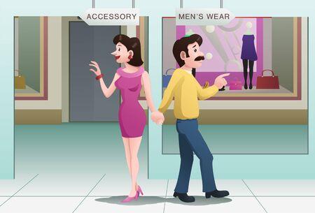 Photo pour A couple choose direction on mall - image libre de droit