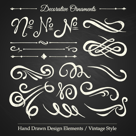 Illustration pour DECORATIVE ORNAMENTS - hand drawn design elements vintage style on chalkboard - image libre de droit