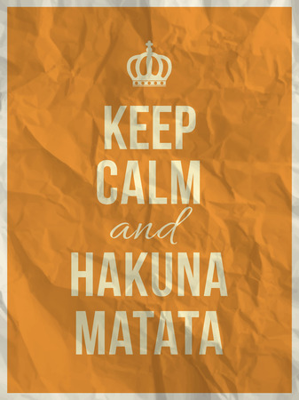 Keep calm and hakuna matata quote on yellow crumpled paper texture with frame