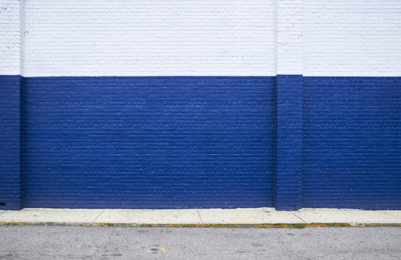 Photo for Painted on blue brick wall on the street - Royalty Free Image