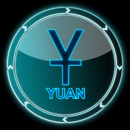 glaring round button with a China Yuan Renminbi symbol on it and circular arrows on black background