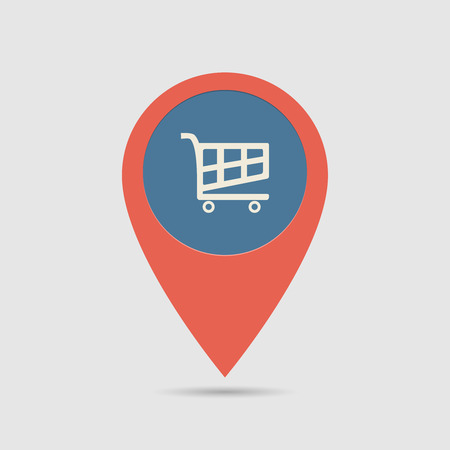 Illustration pour Map Pin For Supermarket Location | Map Marker, Pointer | Cart Icon - image libre de droit
