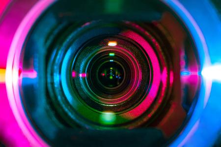 Video camera lens close-up