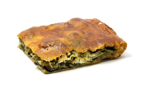 Photo pour Typical Borek with a spinach and cheese filling on a white background - image libre de droit