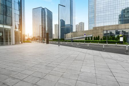 Photo pour Panoramic skyline and buildings with empty concrete square floor, Chongqing, China - image libre de droit