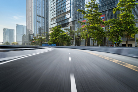 Photo pour empty highway with cityscape and skyline of shenzhen,China. - image libre de droit