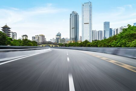 Photo pour The expressway and the modern city skyline are in chengdu, China. - image libre de droit
