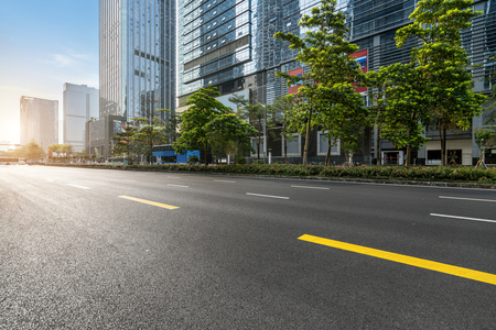 Photo for empty highway with cityscape and skyline of shenzhen,China. - Royalty Free Image