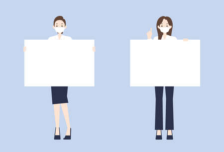 Illustration for A woman in a suit holding an empty board to insert a social distancing notice from the coronavirus - Royalty Free Image