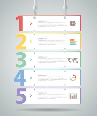 Illustration pour Design Infographic template 5 steps. for bussiness concept - image libre de droit