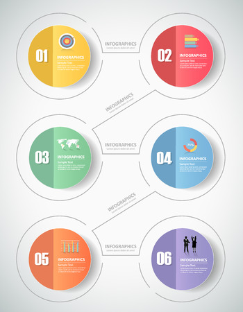 Illustration pour 6 steps infographic template. can be used for workflow layout, diagram, number options, progress, timeline - image libre de droit