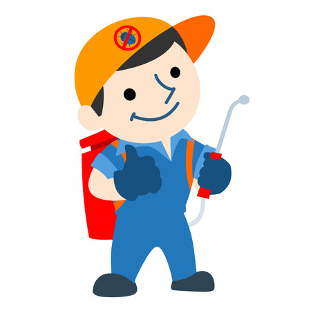 pest control service logo cartoon vector illustration