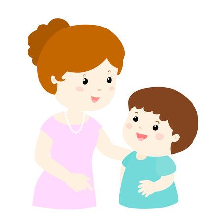 Illustration pour mom talk to her son gently vector illustration - image libre de droit