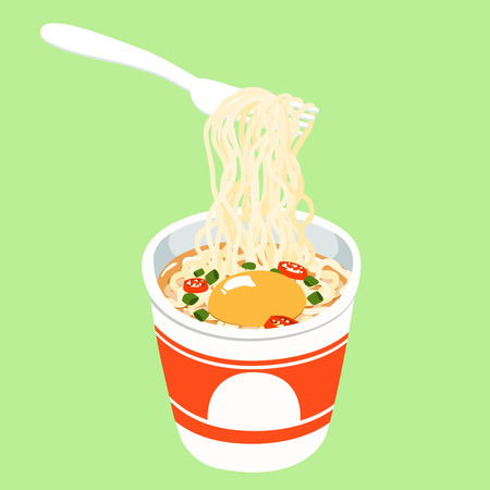Instant noodle in cup add egg illustration vector