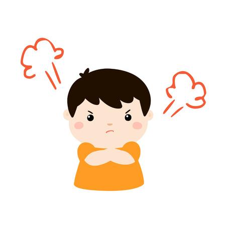 Illustration pour Cute cartoon angry boy character vector illustration. - image libre de droit