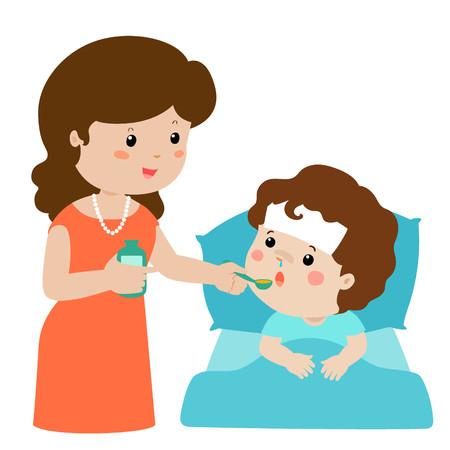 Illustration pour Mother giving son medicine vector illustration.Sick little boy in bed taking medicine with spoon. - image libre de droit