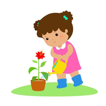 Illustration pour Cute cartoon girl watering a plant vector illustration. - image libre de droit