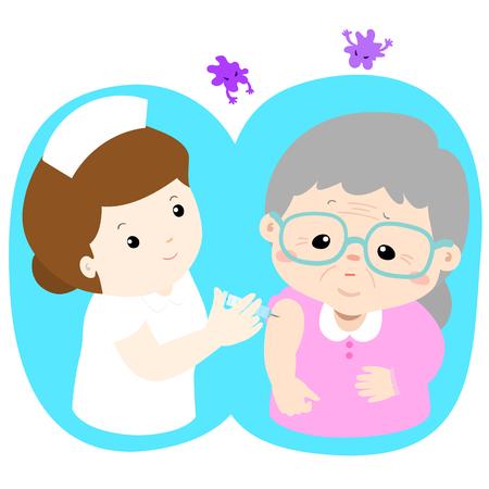 Illustration pour Vaccination senior cartoon vector illustration.  Nurse giving vaccination injection to senior vector. - image libre de droit