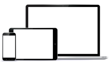 Notebook, Tablet PC, Mobile Phone Vector illustration.