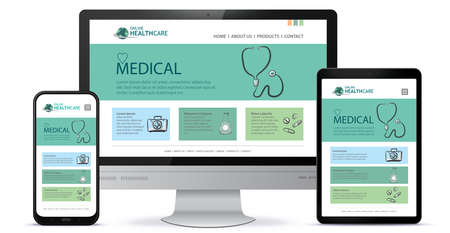 Illustration pour Healthcare and Medical User Interface Design for Web Site and Mobile App. Desktop Computer Monitor, Tablet PC and Mobile Phone Vector Illustration. - image libre de droit