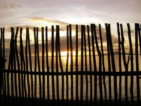 Wooden fences at sunset, Mati, Philipines Crudely built wooden posts Davao Oriental