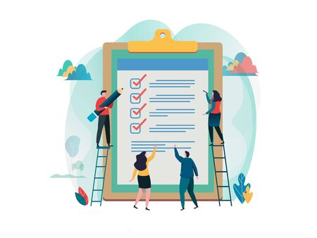 Illustration pour People fill out checklist on a clipboard. Online survey. fill out a form. research, election. Flat cartoon character graphic design. Landing page template,banner,flyer,poster,web page - image libre de droit
